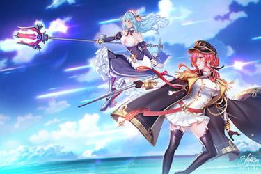 Azur Lane - Neptune and Monarch by Zolaida