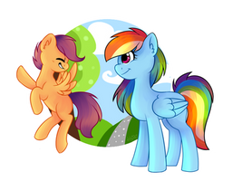 My cool Big Sister [Rainbow Dash and Scootaloo] by DEQ46
