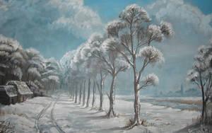 Winterscene Acrylic paint by Joey-B