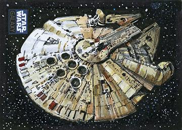 Star Wars Millennium Falcon Sketch card by SteveStanleyArt