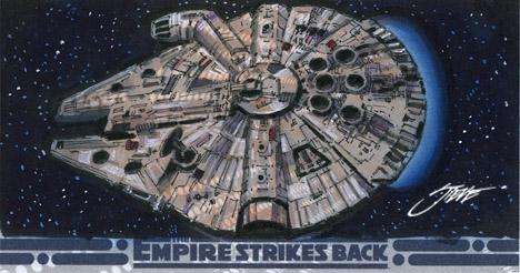 Millennium Falcon-2 Star Wars Sketch card by SteveStanleyArt