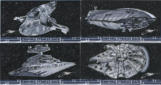 Star Wars Empire Strikes Back Ships/ Sketchcards by SteveStanleyArt