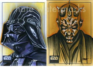 Star Wars: Darth Vader/Darth Maul-Sketchcards by SteveStanleyArt
