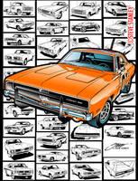 Mopar / Dodge Charger / Automobile Line art by SteveStanleyArt