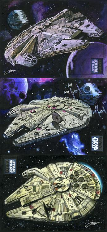 Star Wars Millennium Falcon Sketch Cards by SteveStanleyArt