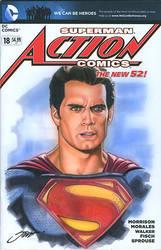 Action #18 Superman Cover/ Henry Cavill by SteveStanleyArt