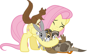 (MVCR-11) Fluttershy hugging her animal friends