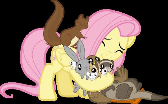 (MVCR-11) Fluttershy hugging her animal friends