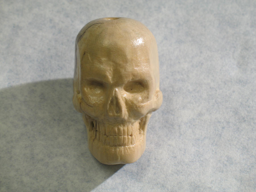 Carved wood skull by cmeglitsch on deviantart