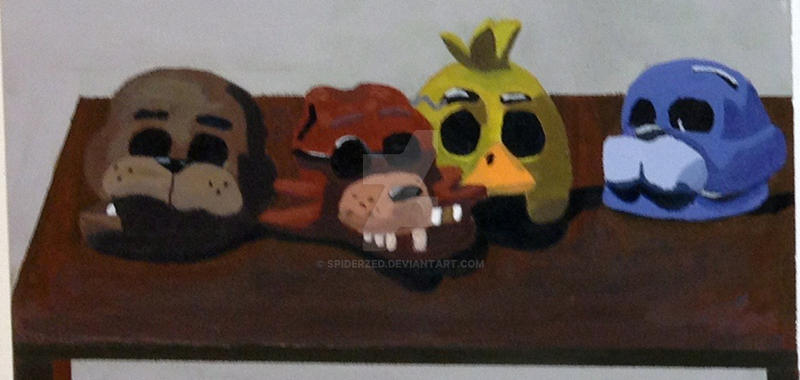 Five Night At Freddy's Heads Paint by SpiderZed