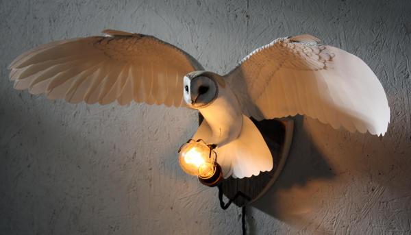 Handmade paper and wood Owl wall light