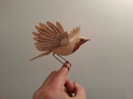 Handmade vintage paper and wood Robin