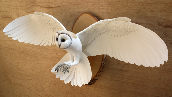 handmade paper and wood wall mounted owl sculpture by ZackMclaughlin