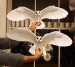 Hand made paper and resin owl sculptures