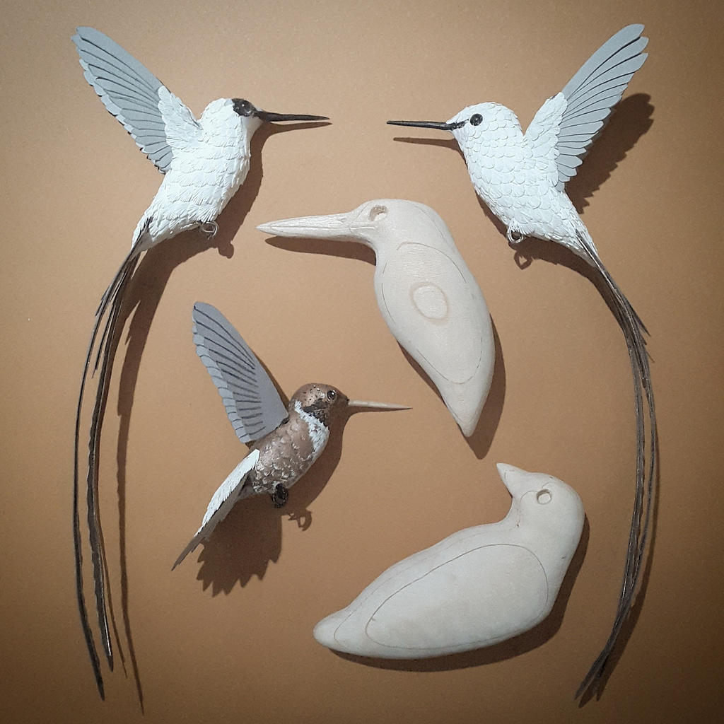 Paper and wood birds in progress by zackmclaughlin on for How to make a 3d bird sculpture