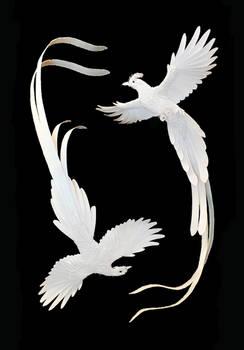 finished paper birds for Ralph Lauren