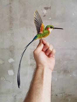Large paper hummingbird sculpture
