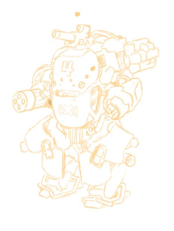 Exosquad: Bronsky Suit Sketch by Auger-Affect