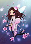 Cherry Blossom Fairy Lineart  By Yampuff Reloaded