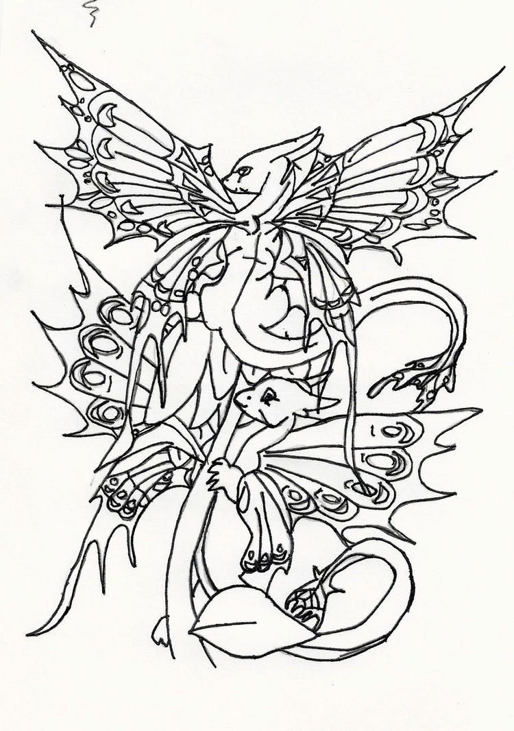 Cute baby dragons on a flower by littlelady7 on deviantart for Baby dragon coloring pages