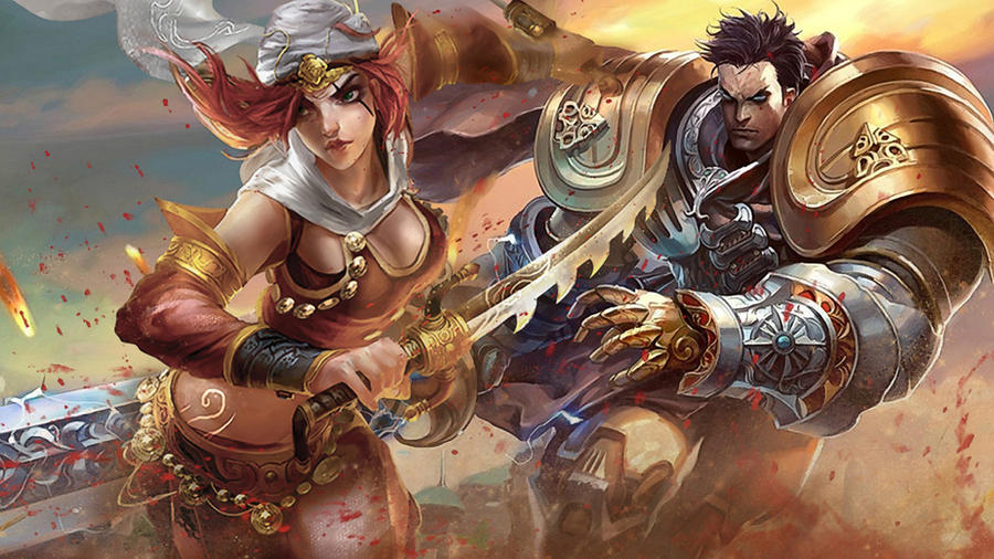 LoL - Garen Katarina splash by ConShinn
