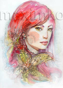 Redhair Girl Portrait Watercolor