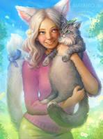 Nekomimi Iris and her cat by Maximko
