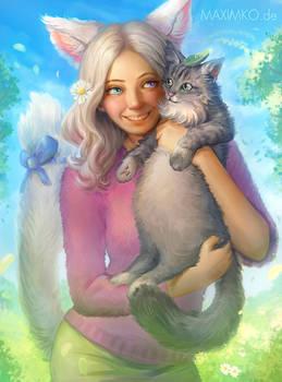 Nekomimi Iris and her cat