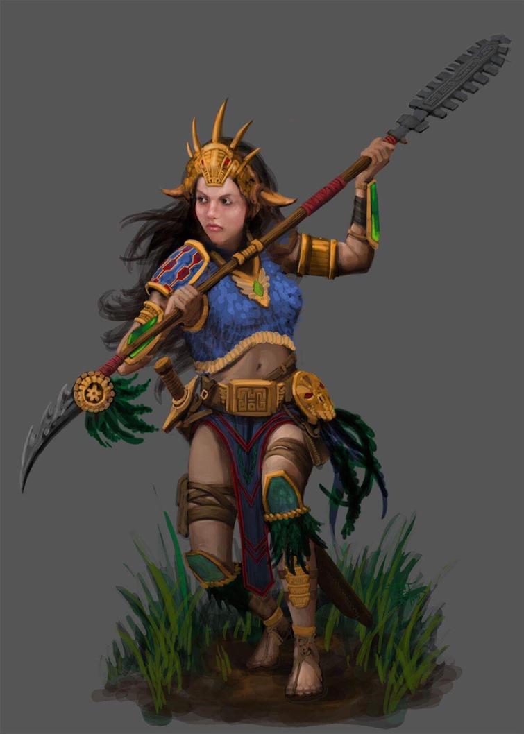 TALOC: Female mayan warrior by GraphicGeek
