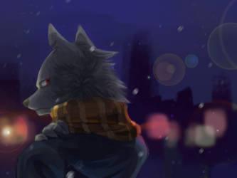 a snowy night by WOLFWARRIOIS