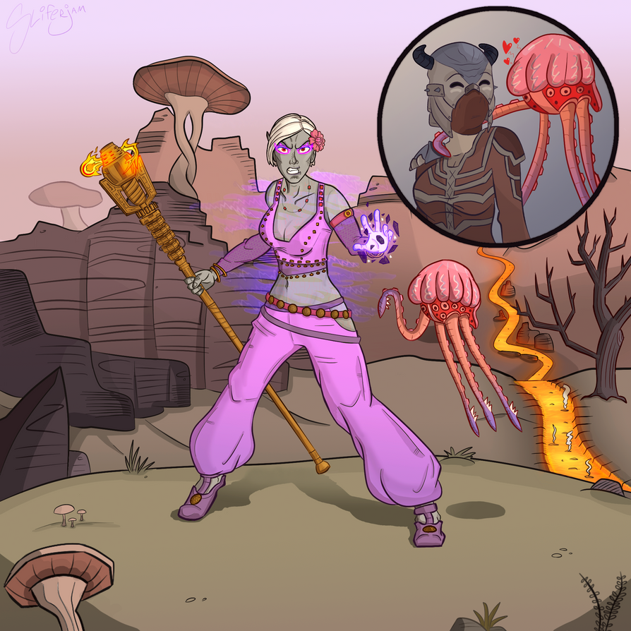 Dunmer Sorceress and pet netch calf by Sliferjam