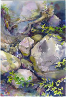 Plein air in Crimea. Stream in the forest by OlgaSternik