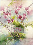 Magnolia tree. Plain air
