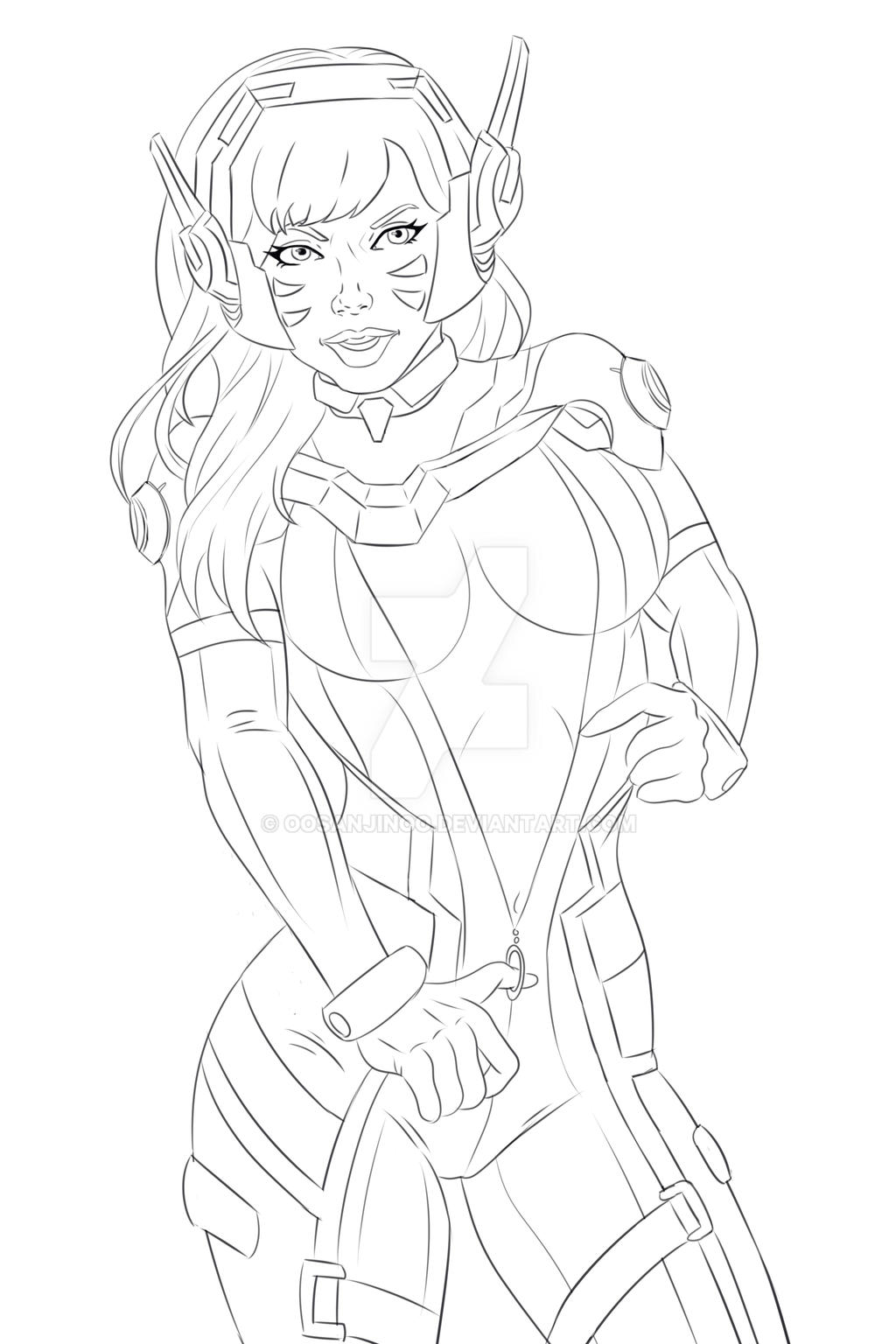 Overwatch d va lineart by oosanjinoo on deviantart for Overwatch coloring pages