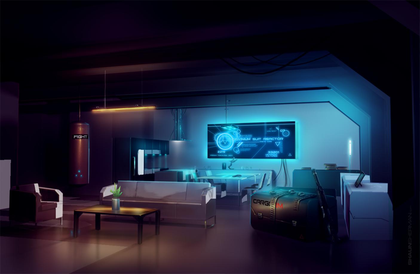 near future interior scifi concept art by shaunsherman on deviantart. Black Bedroom Furniture Sets. Home Design Ideas