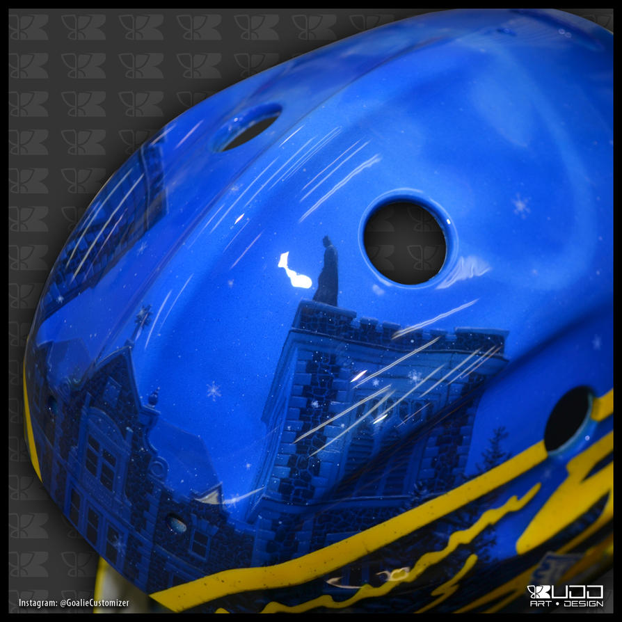 Batman goalie mask: Top detail by ruddiger