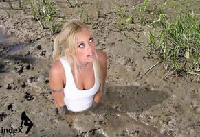 blonde sinking in quicksand by kforrest1