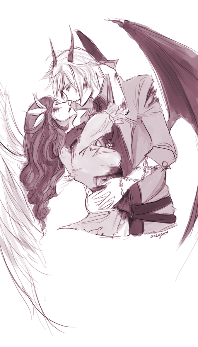 The Angel and The Demon Sketch by seyuri on DeviantArt