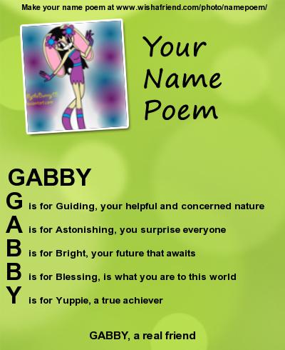 gabby name poem by babybunnybun on deviantart