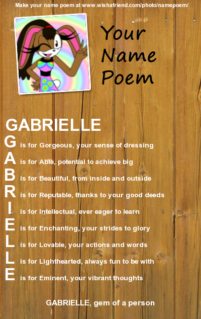gabrielle name poem by babybunnybun on deviantart