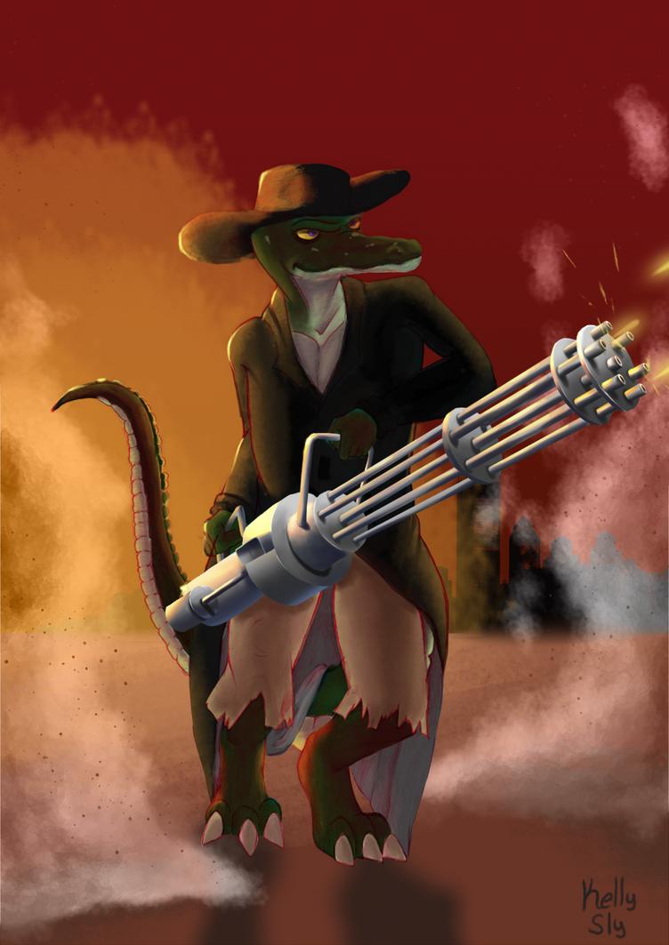 Gatling Gator by A-Fox-Of-Fiction