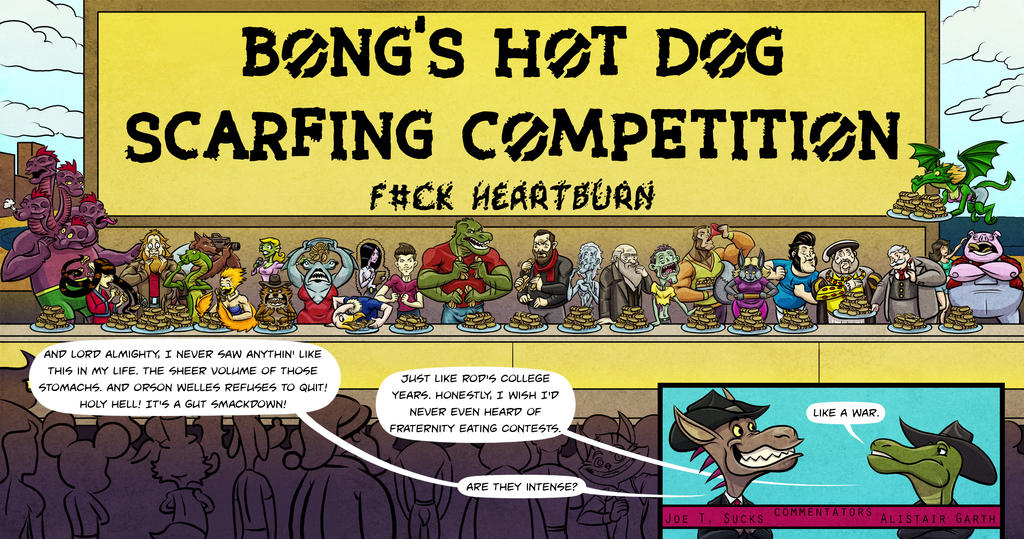 Bong's Hot Dog Scarfing Competition circa 2013 by A-Fox-Of-Fiction