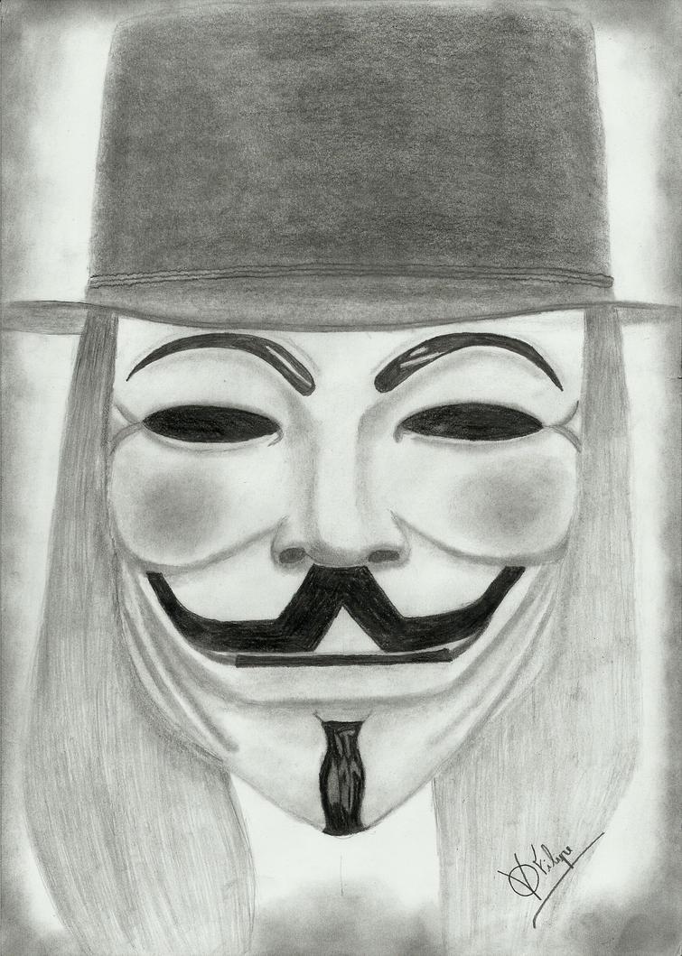 V For Vendetta Mask Drawing V for Vendetta by FFil...