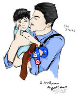 Papa Stark and Little Tony by silver-autumn
