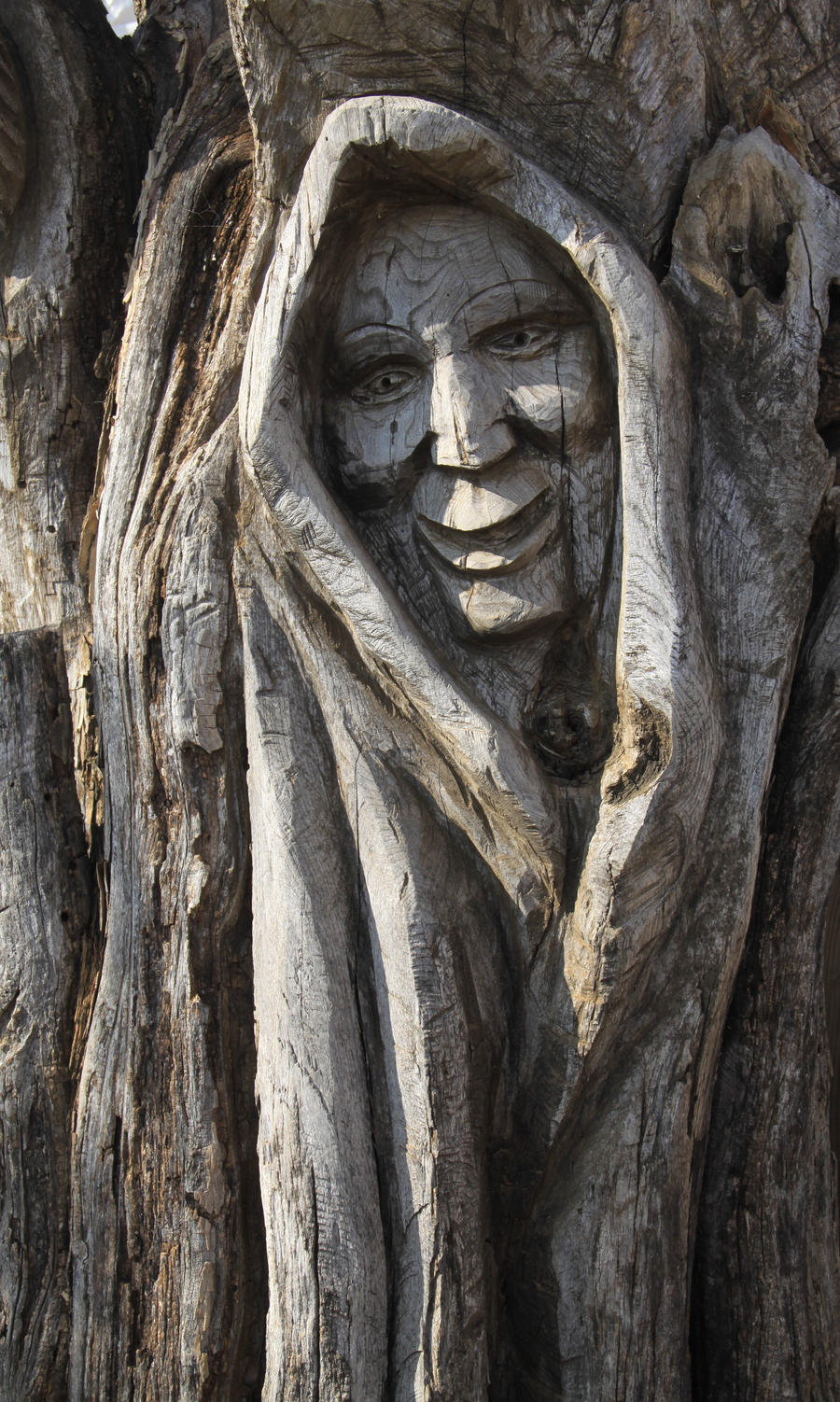 Carved tree face by idnurse on deviantart