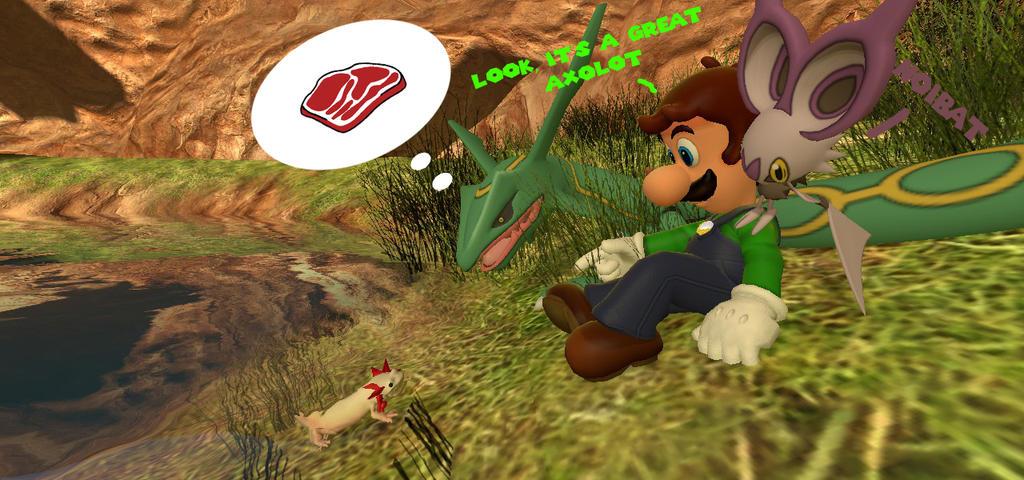 Luigi and Axolotl by LUINATOR