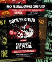 Rock Festival - Grunge club show flyer by JamesRuthless