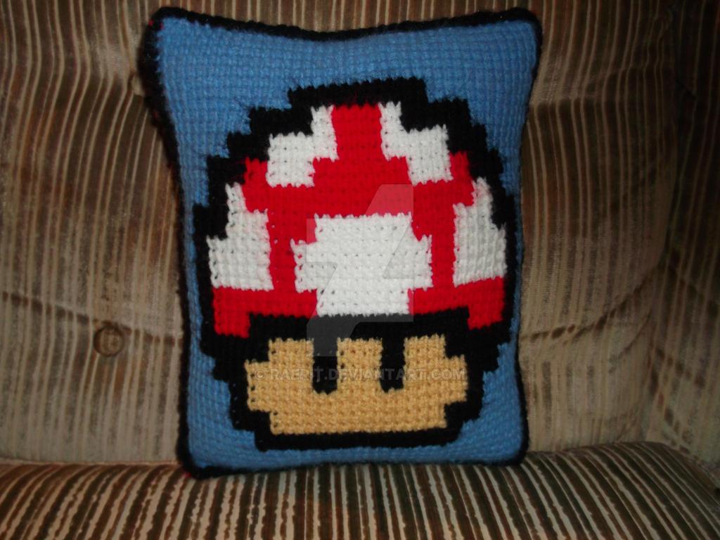 Crochet Mario Mushroom Pillow-Red Mushroom Side by raerit on DeviantArt