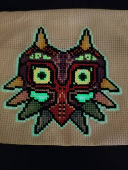 Majora's Mask Cross Stitch Glowing