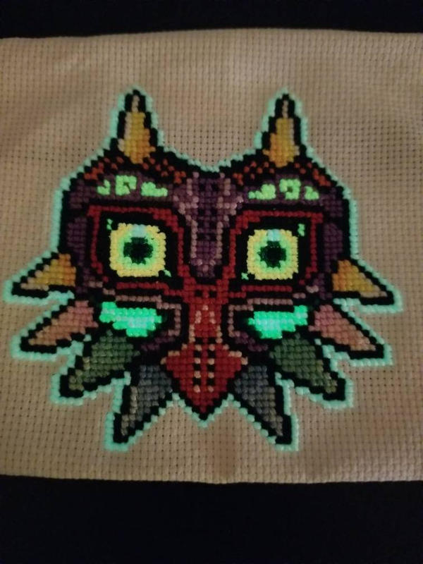 Majora's Mask Cross Stitch Glowing by raerit